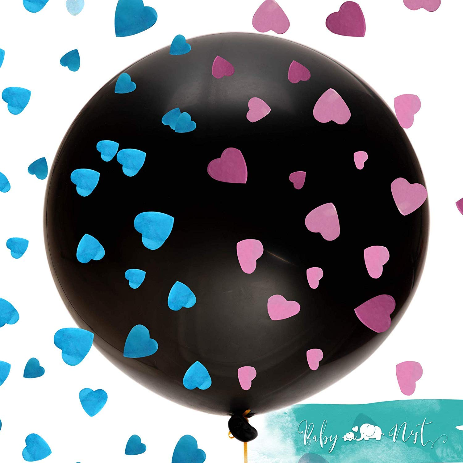 Cupcake Toppers Foil and Confetti Balloons With The Original Gender Reveal Balloon Boy or Girl Banner Decorations KASU Gender Reveal Party Supplies - 103 Pieces Stickers Photo Props