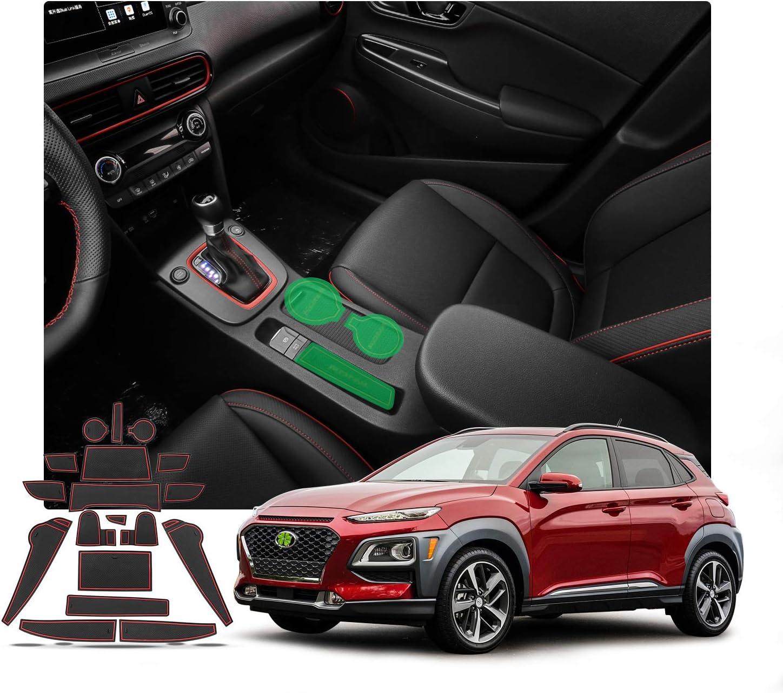 White R RUIYA 2018 Hyundai KONA Car Cushion Non-Slip Gate Slot Pad Cup Mat Car Interior Door Slot Pad Automotive Decoration 17pcs//Set