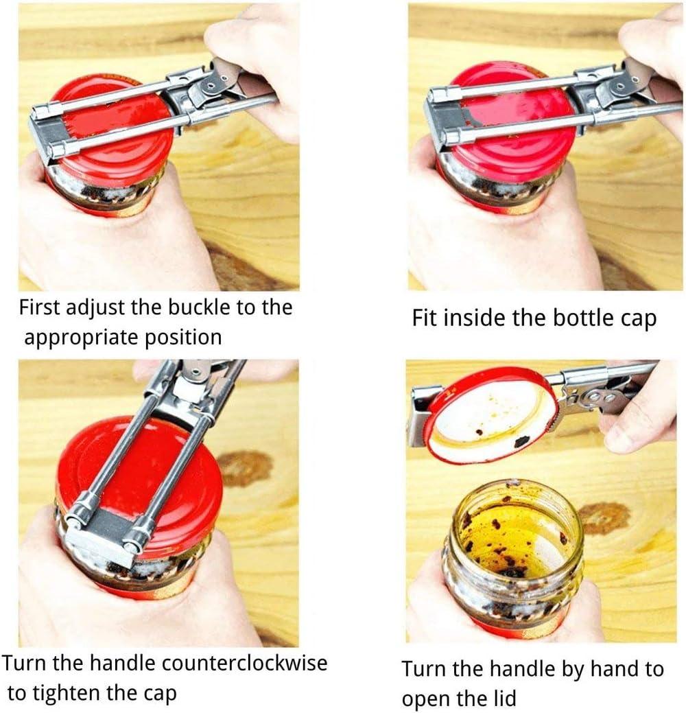 ACHENYUANYUAN 2 Pack Master Opener Adjustable Jar /& Bottle Opener Adjustable Multifunctional Stainless Steel Can Opener Jar Lid Gripper,Comfortable Handle Jar Opener for Weak Hands Seniors
