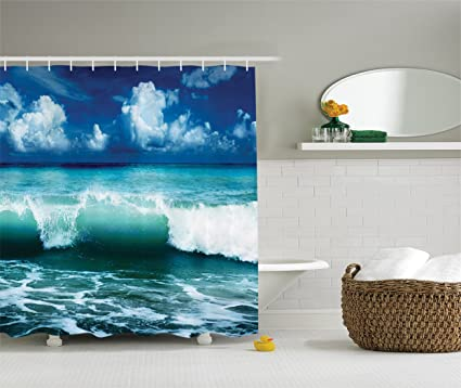 Ambesonne Ocean Shower Curtain Surf Waves Decor By Caribbean Sea And Water Splash Picture For