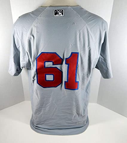 118887c3e063b Buffalo Bisons #61 Game Used Grey Jersey BISON0019 - Game Used MLB ...
