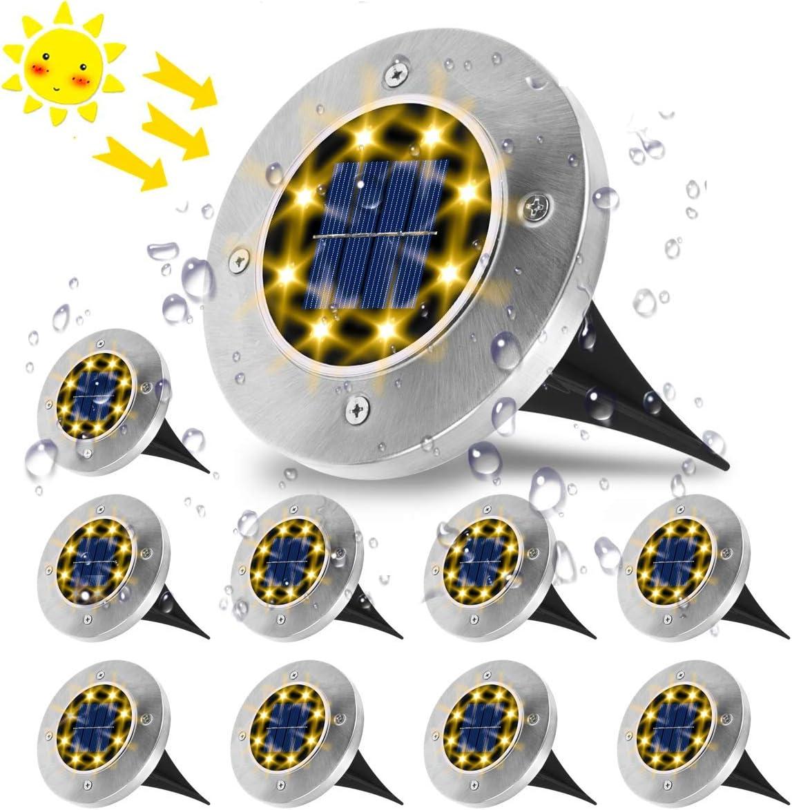 Luces Solares para Exterior,VIFLYKOO Luz Focos led Exterior Solar Luz de Jardin IP65 impermeable Lámpara de exterior acero inoxidable para césped ...