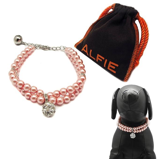 6dba808fdca7 Alfie Pet by petoga Couture - Lizbeth doble capa Collar de perlas para  perros y gatos con bolsa de almacenamiento de tela