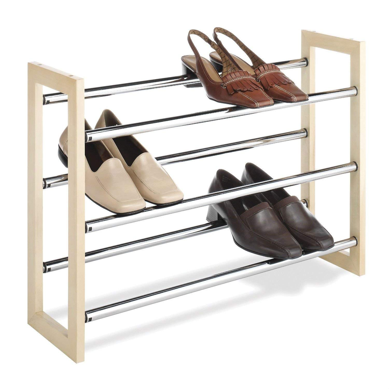 StarSun Depot 3-Tier Stackable & Expandable Shoe Rack in Wood & Chrome Metal