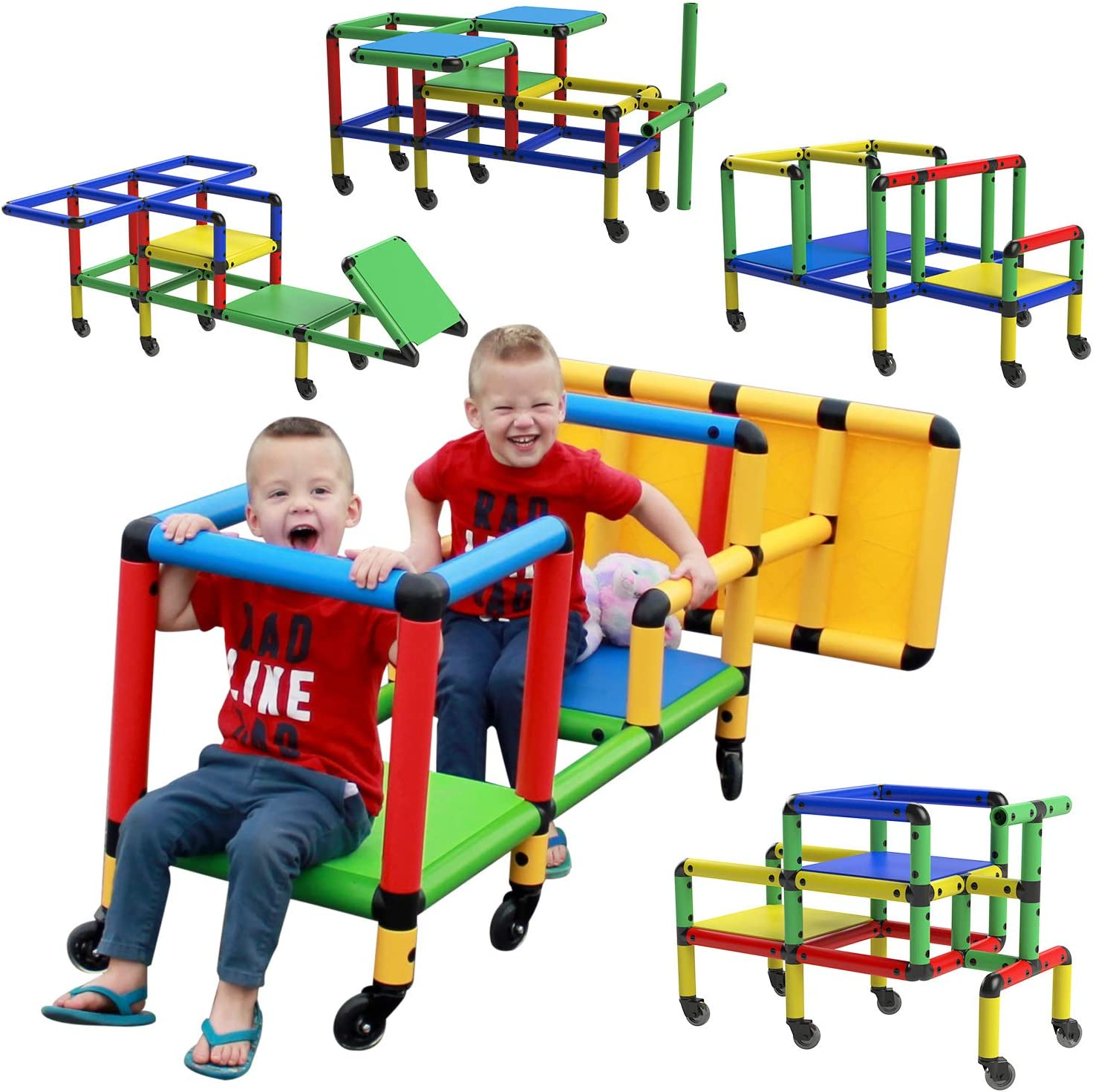 Funphix Wheelies - Buildable Play Structure Set with Wheels, Indoor and Outdoor STEM Learning Construction Toy for Ages 2-12 Years