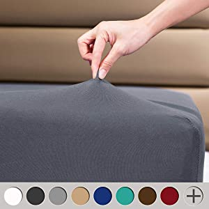 """COSMOPLUS Fitted Sheets Full Fitted Sheet,4 Way Stretch Micro-Knit,Snug Fit,Wrinkle Free,for Standard Mattress and Air Bed Mattress from 8"""" Up to 14"""",Gray"""