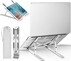 "Laptop Stand, iVoler Adjustable Aluminum Laptop Computer Stand Tablet Stand,Ergonomic Foldable Portable Desktop Holder Compatible with MacBook Air Pro, Dell XPS, HP, Lenovo More 10-15.6"" Laptops"