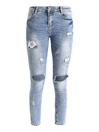 FARFALLINA Jeans Strappati Skinny  Amazon.it  Abbigliamento 6cbd8342dbc