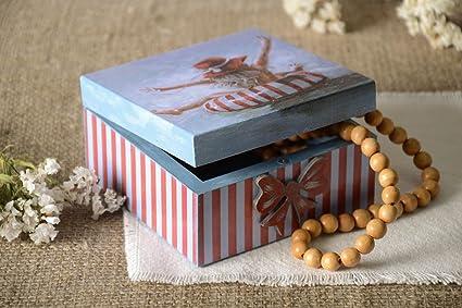 Joyero de madera blanco rectangular estuche para bisuteria regalo original
