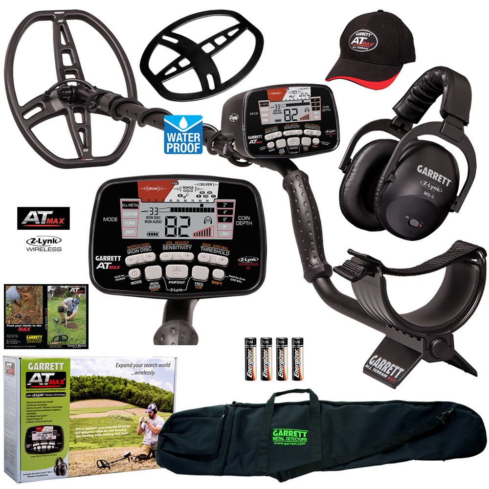 Garrett AT Max Metal Detector with Z-Lynk Wireless Headphones and 50'' Travel Bag