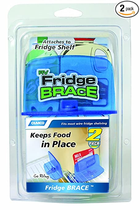 aed98b7e12 Amazon.com: Camco RV Fridge Brace -Holds Food and Drinks in Place During  Travel, Prevents Messy Spills Perfect For RVs, Boats, Camping and More - (2  Pack) ...