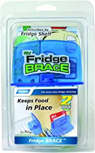 Camco RV Fridge Brace -Holds Food and Drinks in Place During Travel, Prevents Messy Spills Perfect For RVs, Boats, Camping and More - (2 Pack) (44033),Blue