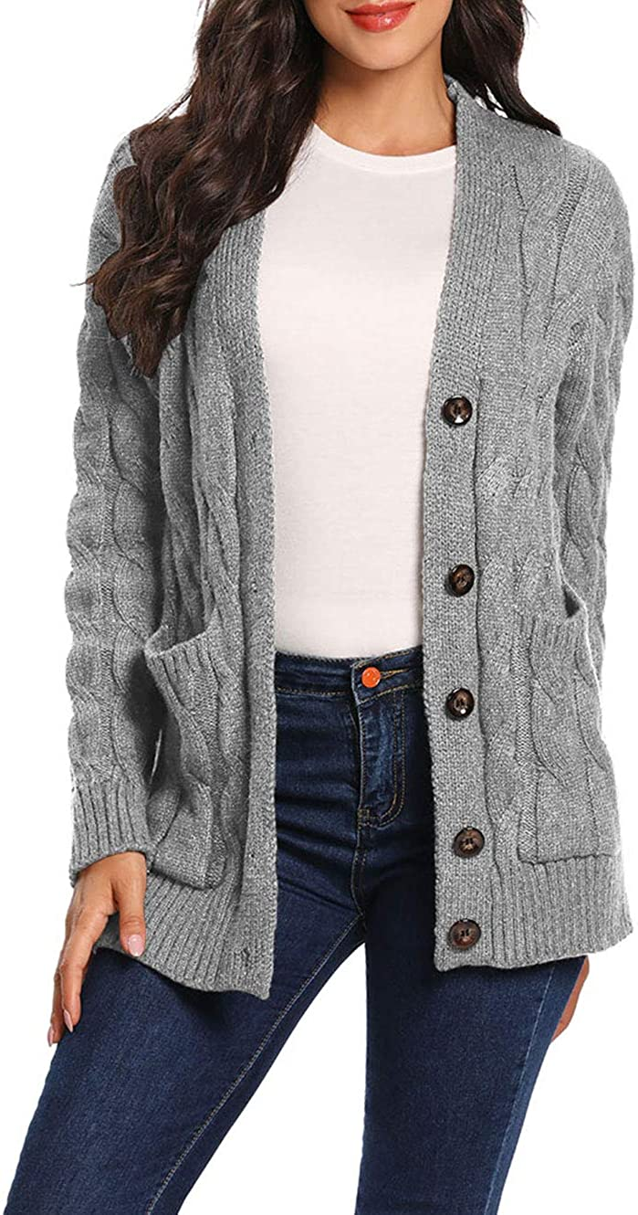 uideazone Womens Cardigan Sweater Cable Knit Button Down Sweaters Boyfriend Open Front Long Sleeve Coat with Pockets