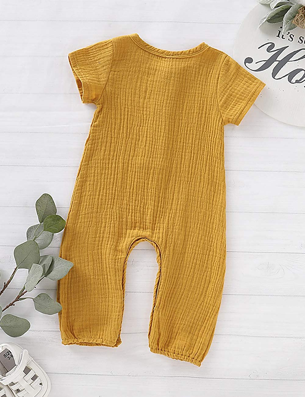 Neugeborenes Baby M/ädchen Jungen Strampler Solide Overall Leinen Baumwolle Kurzarm R/üschen Body Infant Sommer Kleidung Outfit