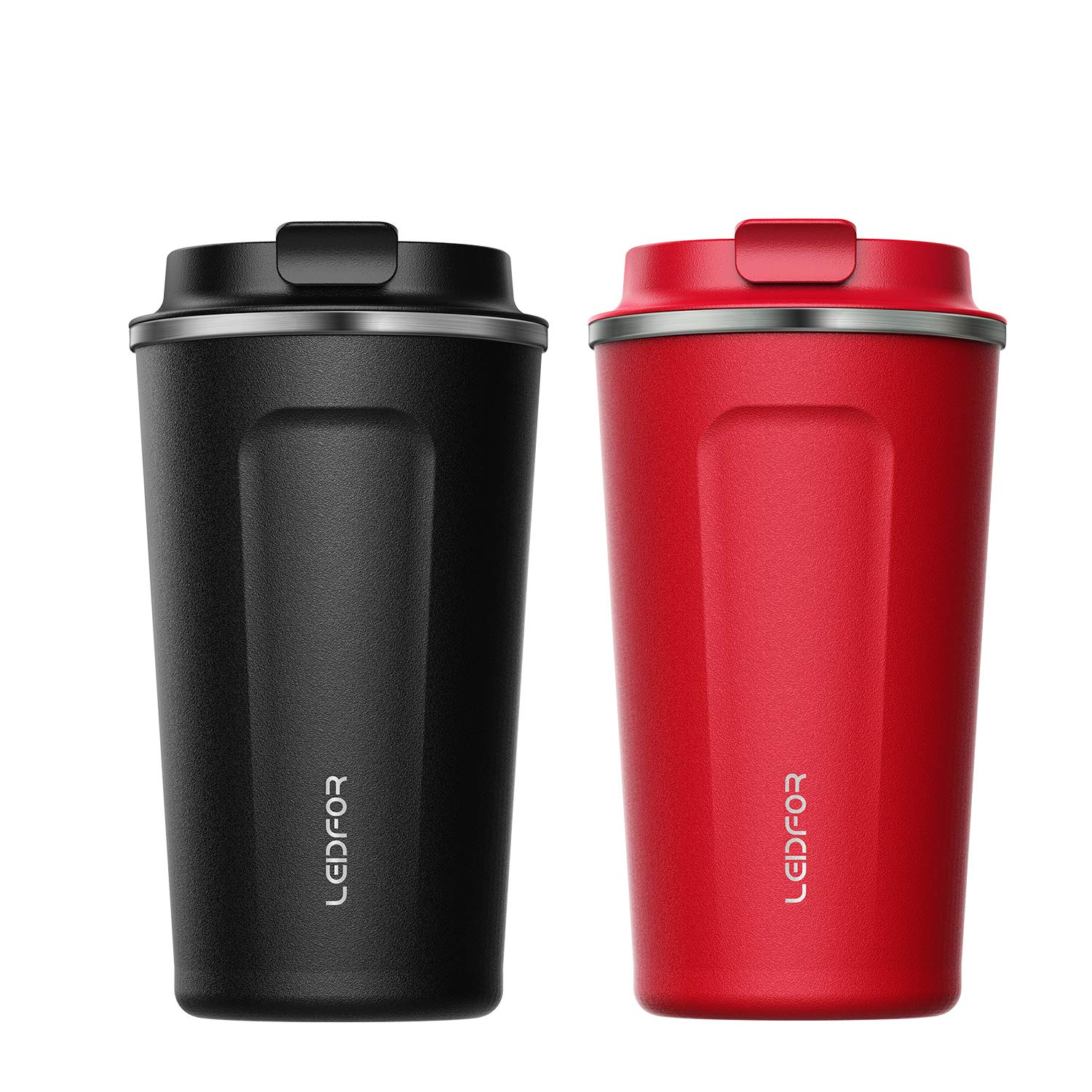 8943c0e75e1 Amazon.com: Leidfor Insulated Tumbler Coffee Travel Mug Vacuum Insulation  Stainless Steel with Lid Leakproof 17oz Black Red TWO PACK: Kitchen & Dining