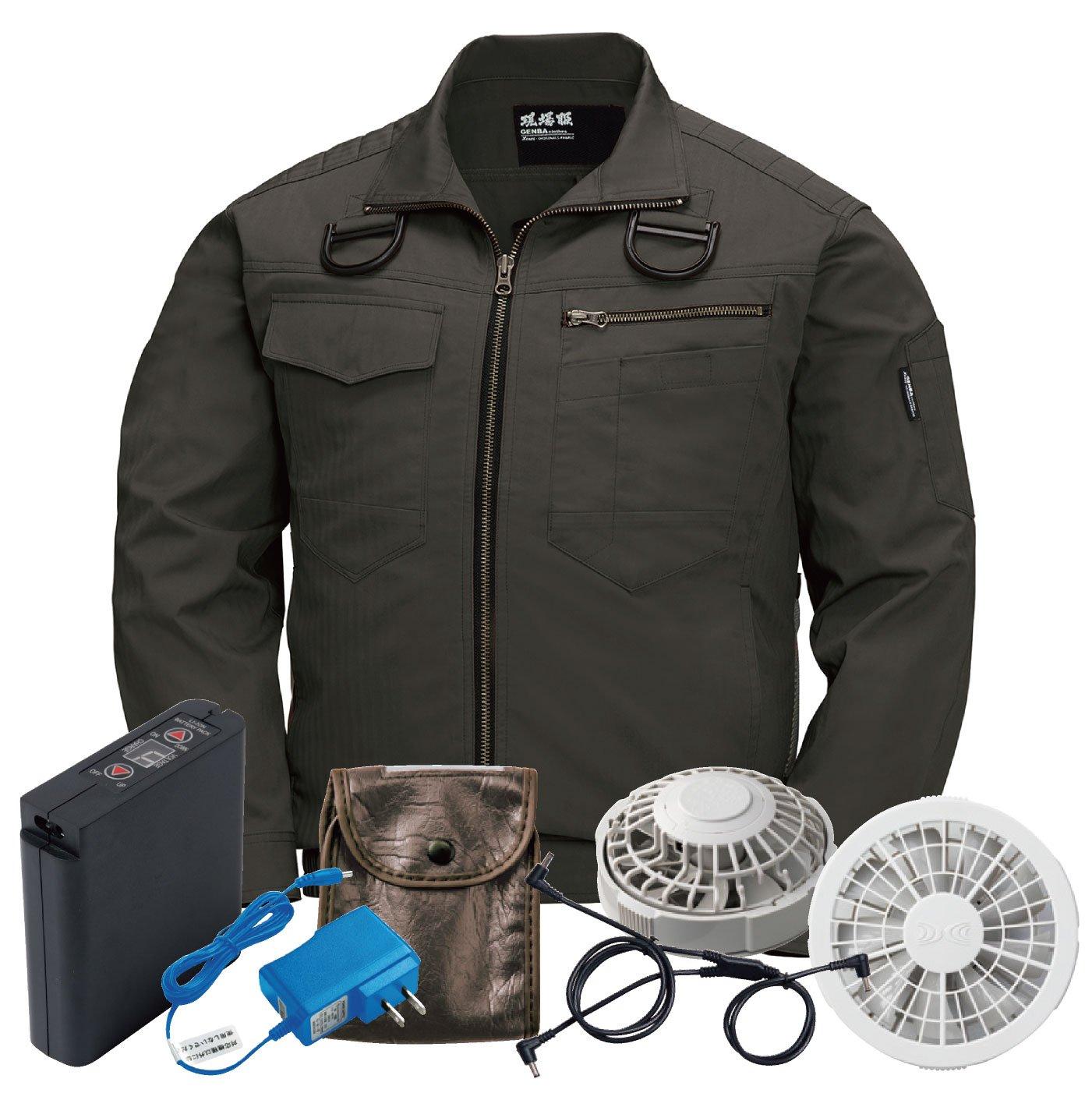 XEBEC(ジーベック) 空調服 長袖ブルゾン ジーベック XEBEC ハーネス対応 空調服セット おしゃれ メンズ 作業服 xb-xe98102-l 【空調服+ファンバッテリーセット】 B07D555MJ6 L|アーミーグリーン/グレーファン アーミーグリーン/グレーファン L