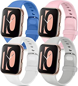 Tobfit 4 Pack Compatible with Apple Watch Band 38mm 42mm 40mm 44mm, Soft Silicone Replacement Band Compatible with iWatch Series 6 5 4 3 SE (Royal Blue/Pink/Gray/White, 38mm/40mm S/M)