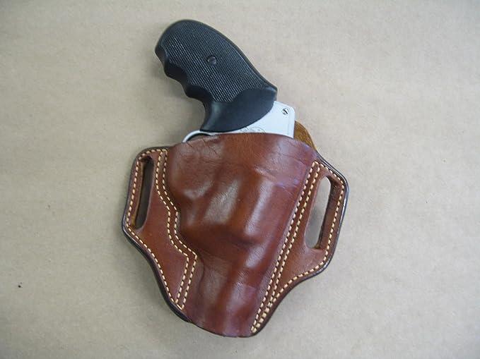 Ruger SP101-3.06 inch Ambidextrous OWB Belt Slide Leather Holster Brown