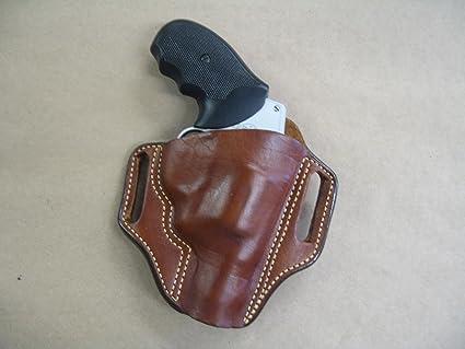 Ruger SP101 5 Shot Revolver Leather 2 Slot Molded Pancake Belt Holster CCW  TAN RH