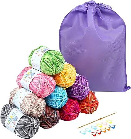 LIHAO 10 x 50G Lanas para Tejer Ovillos de Lana Multicolor ...