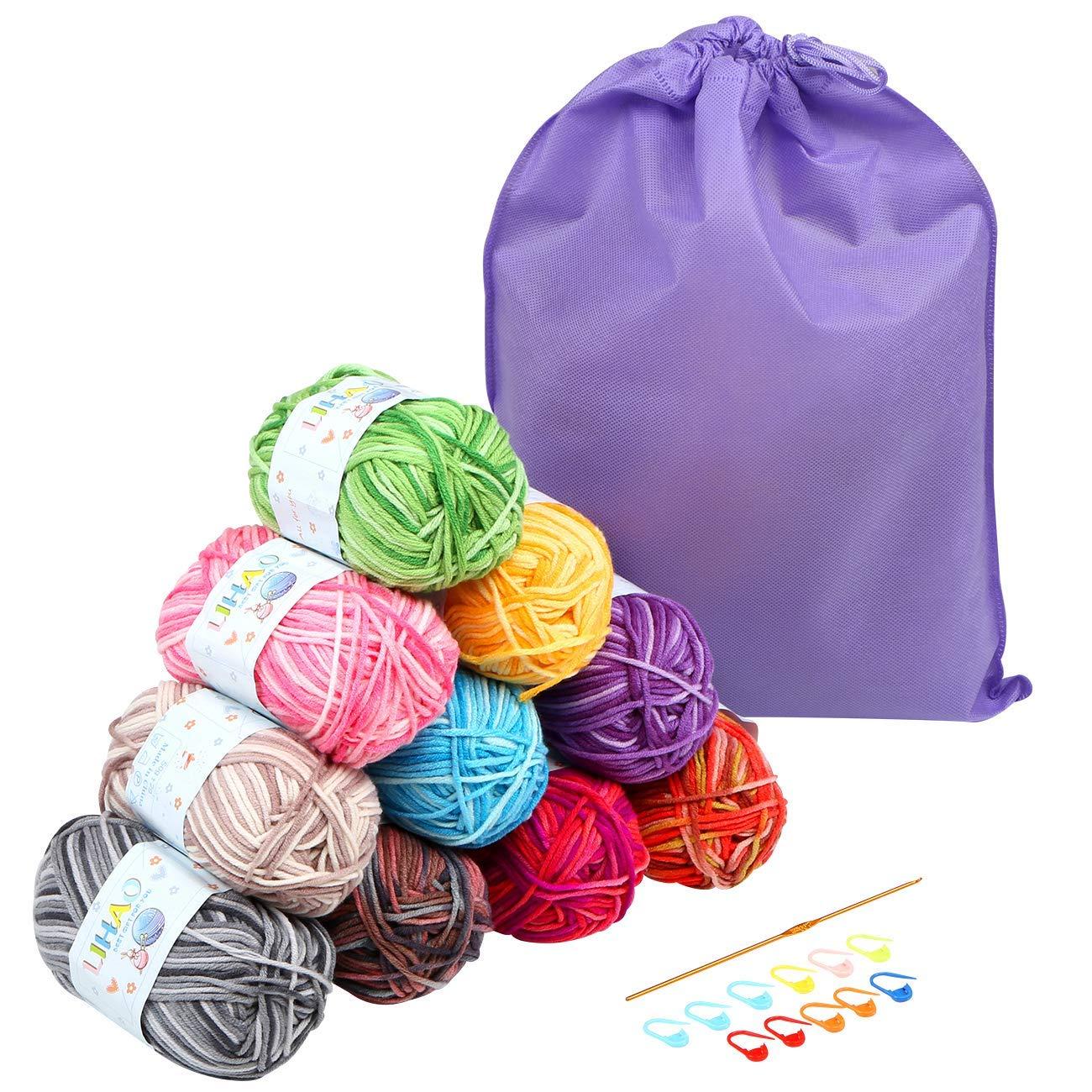 LIHAO 10 x 50G Lanas para Tejer Ovillos de Lana Multicolor Estambre Acr/ílico Algod/ón con Bolsa de Almacenamiento