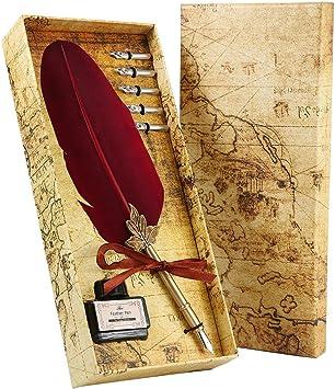 Eintauch Feder Antike Feder Quill Dip Pen Tintenset Kalligraphie Stift Set