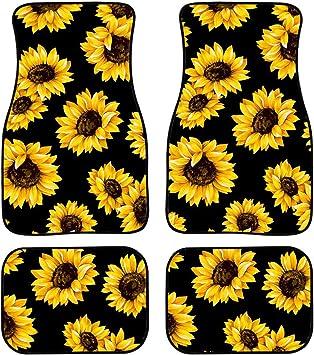 Sunflower Car Floor Mats Custom Women Men 4-Piece Full Set All Weather Universal Front /& Rear Automotive Floor Mat Fit for SUV Sedan Truck Van