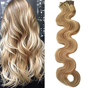 Body Wave Clip In Hair Extensions With Highlights Dirty Blonde With Blonde Highlighted Wavy Human