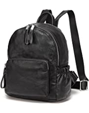 Mini Backpack Purse,Vaschy Cute Faux Leather Small Backpack Purse for Women and Teen Girls with Double Compartment Black