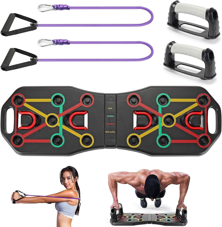 KIKILIVE 9 en 1 Push Up Rack Board,Ejercicio Multifunción Entrenamiento Muscular, Plegable Push Up Tabla Board Fitness Entrenamiento Gimnasio ...