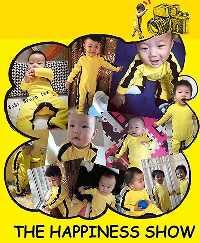 Toddler Baby Boys Bruce Lee Long Sleeve Jumpsuit Kung Fu Classic Romper 0-36 Months Old