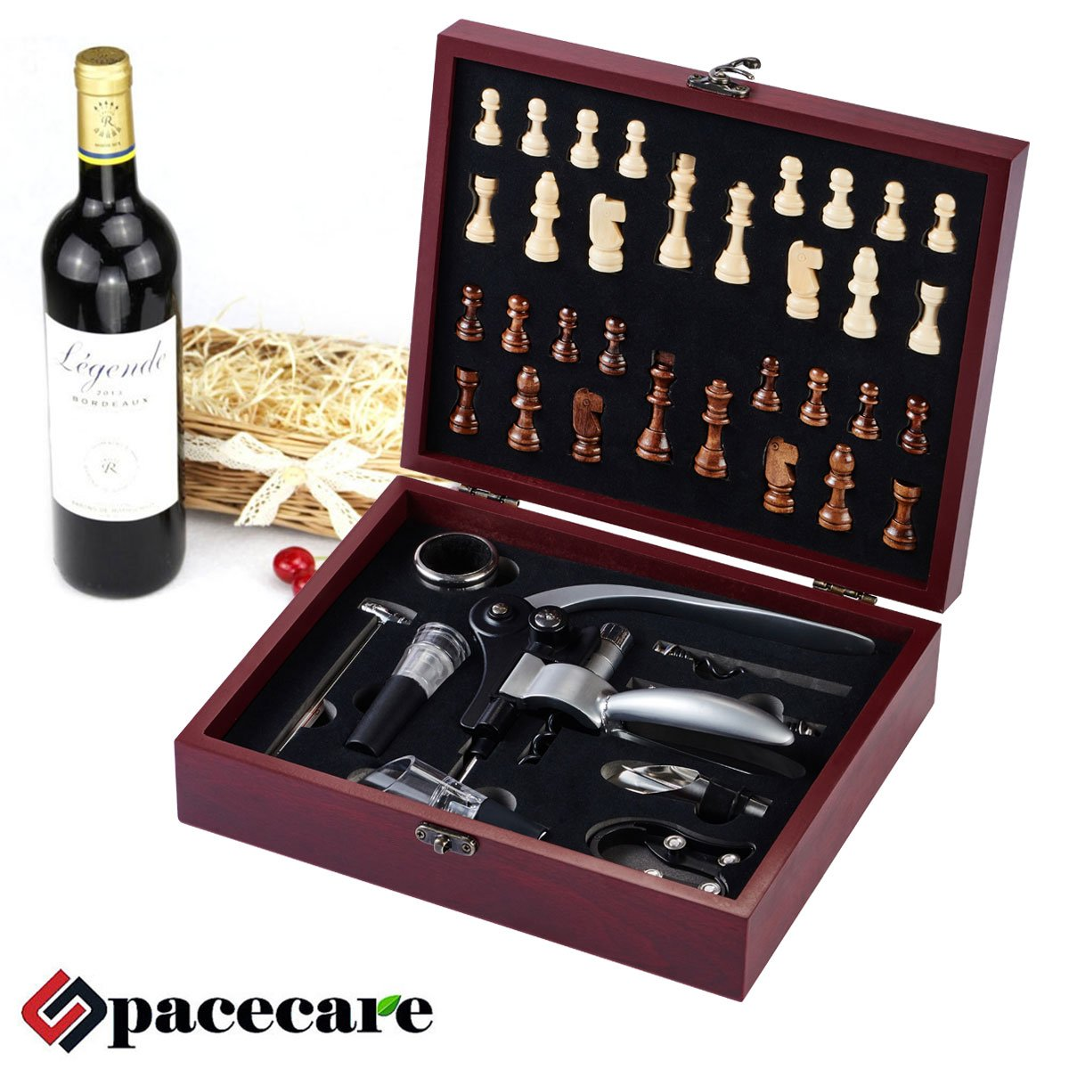 SPACECARE Wine Opener Kit with Chess,Red Wine Beer Bottle Opener Wing Corkscrew,Aerator, Thermometer, Stopper, and Accessories Set with Dark Cherry Wood Case - 10 Piece by SPACECARE (Image #1)