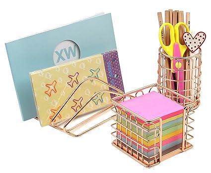 Superbpag Desk Supplies Organizer Kit  Letter Sorter, Pen Holder And Sticky  Note Holder