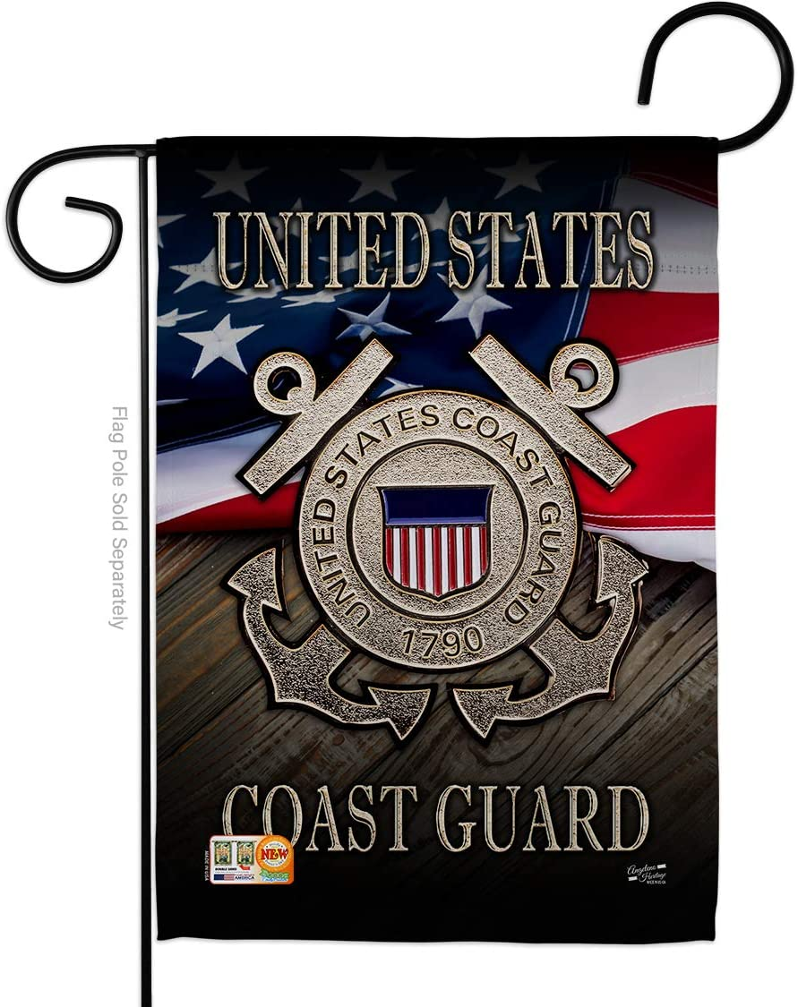 """US Coast Guard Americana Military Veteran Decorative Gift Vertical 13"""" x 18.5"""" Double Sided Garden Flag Made in USA"""