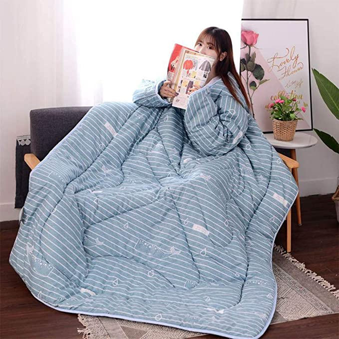 Amazon.com: QIMO Blanket with Sleeves,Large Wrap Throw Blanket, for Adult Women Men,for Lounge Couch Reading Watching TV,Machine Washable.: Kitchen & Dining
