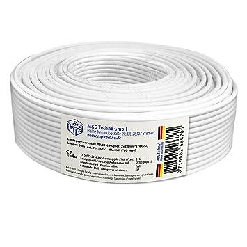 30m Cable de altavoz 2x2,5mm² OFC rectangular blanco marcas de ...