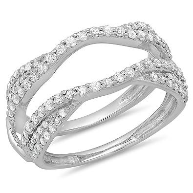 Amazon 075 carat ctw 14k gold diamond ladies anniversary 075 carat ctw 14k white gold diamond ladies anniversary wedding band 34 junglespirit Image collections