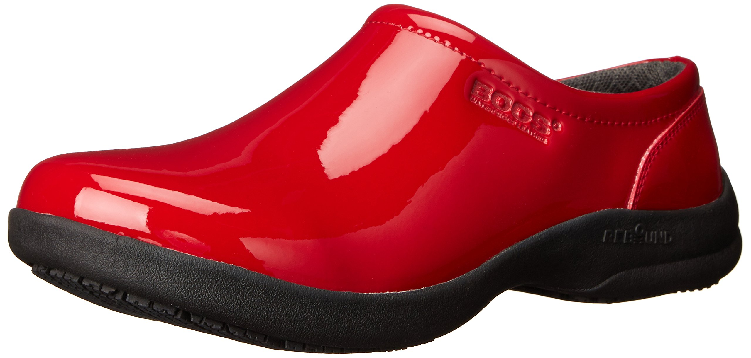 Bogs Women's Ramsey Patent Leather Slip Resistant Work Shoe, Red, 8 M US by Bogs