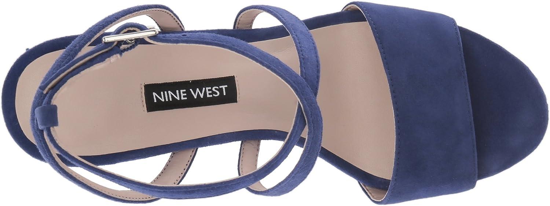 5.5 M US Nine West Womens MARKANDO Suede Heeled Sandal Dark Blue