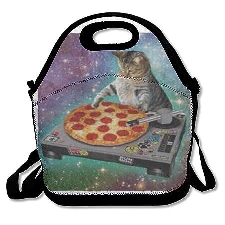 Custom espacio gato Spinning Pizza Tocadiscos reutilizable Ziplock ...