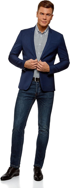 oodji Ultra Uomo Camicia Attillata con Stampa Fitta