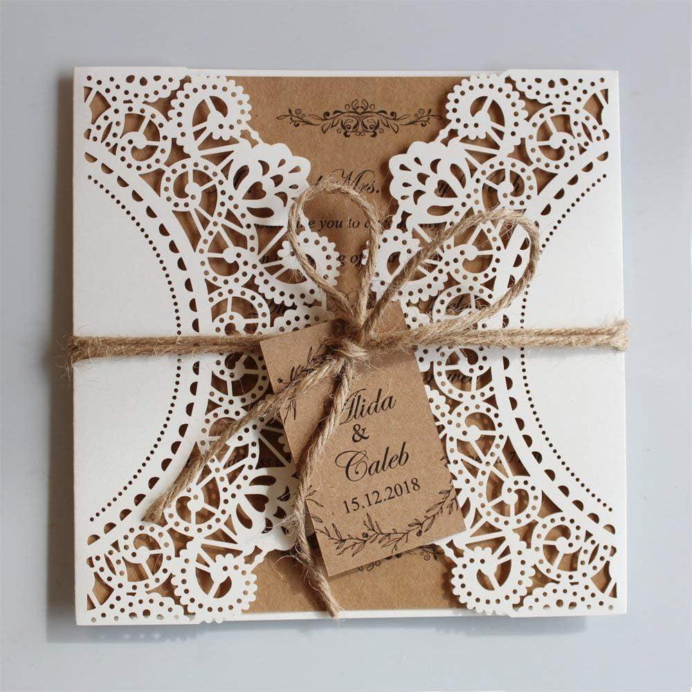 Amazon.com: Picky Bride Rustic Wedding Invitations Ivory Laser Cut  Invitation Announcement - Set of 50pcs: Health & Personal Care