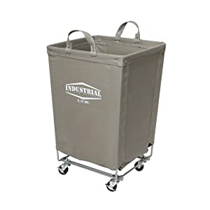 "Seville Classics Commercial Heavy-Duty Canvas Laundry Hamper with Wheels, 18.1"" D x 18.1"" W x 27"" H, Gray"