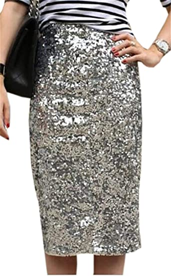 09a759cface5 SELX-Women Glitter Pencil Knee Length Bodycon Silver Sequins Midi Skirt at Amazon  Women's Clothing store: