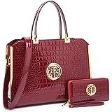 "Women Large Designer Handbags Purses Vegan Leather Briefcases Top Handle Satchel Work Bags for 13"" Laptop"