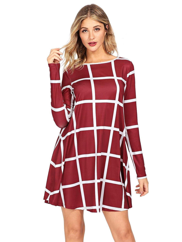 Red SheIn Women's Grid Check Print Long Sleeve Swing Dress