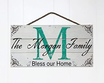 Artblox Personalized Rustic Family Wood Sign Home Decor Custom Initials And Name