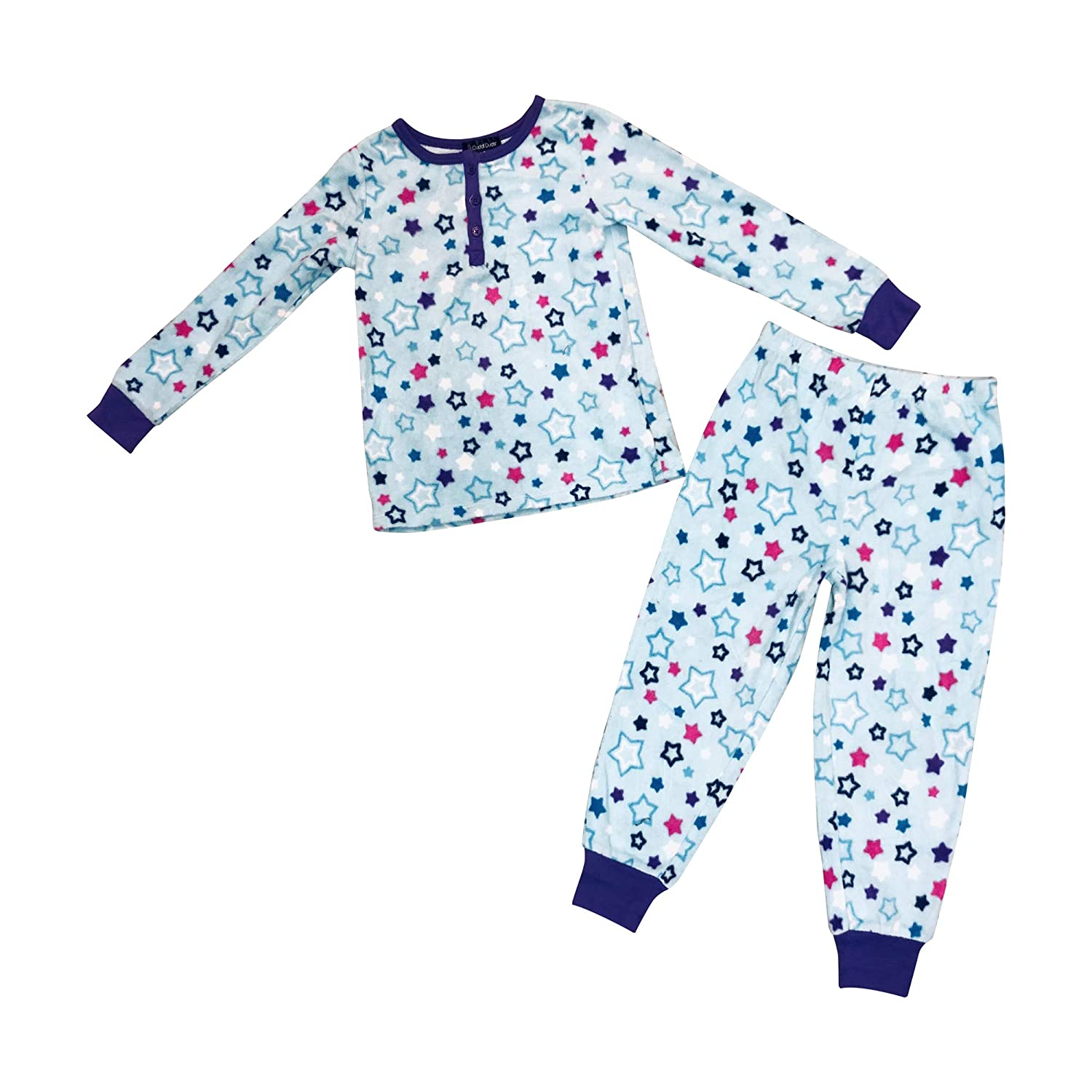 Girls Blue Fleece Pajama with Blue Pink Star Design 2 Piece Set