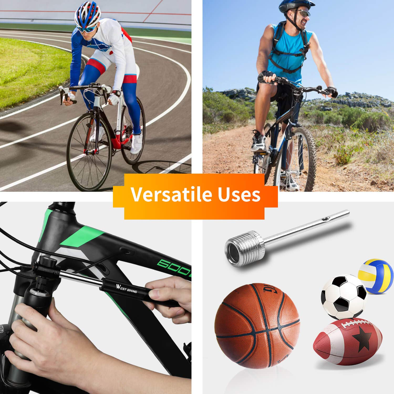 Mini-Fahrradpumpe mit Manometer Mountain- und BMX-Fahrr/äder 300 PSI Tragbare Fahrradrahmenpumpe mit leimlosem Pannenset f/ür Stra/ßen- Montageset und Ballnadel Passend f/ür Presta /& Schrader