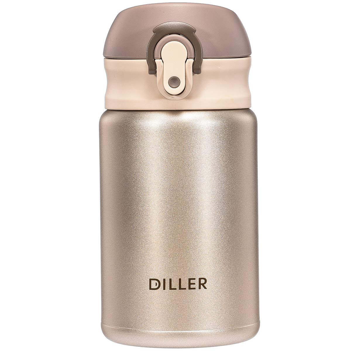 Diller Thermos Water Bottle - 10 Oz Mini Insulated Stainless Steel Bottle, Leakproof Cute Vacuum Flask, Perfect for Purse or Kids Lunch Bag, 12 Hours Hot & 24 Hours Cold (Gold, 10 oz)